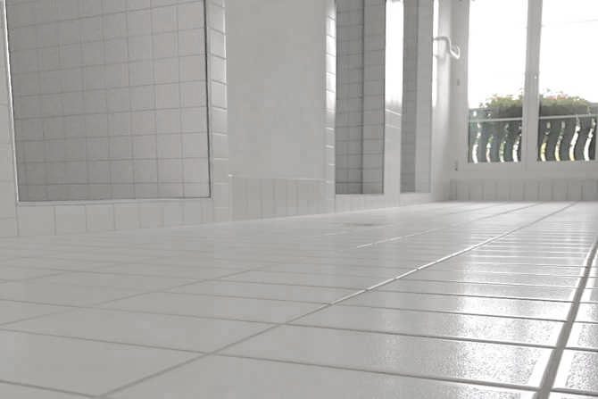 Shower room with anti-slip coating
