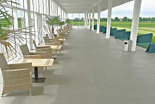 Slip resistant stone tiles at golf course