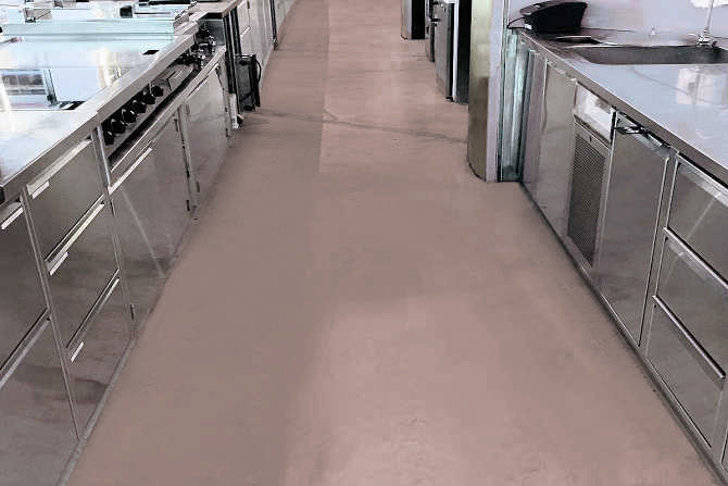 Commercial flooring with SWISSGriP coating