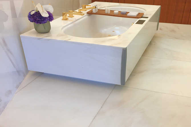 Retrofit slip resistance for marble bath