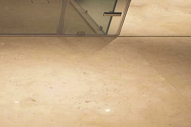 Slip protected natural stone floor